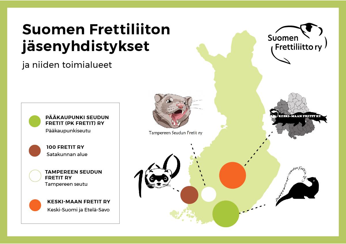 Suomen Frettiliiton jäsenyhdistykset eri puolilla Suomea